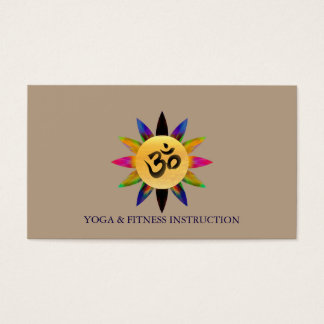 "Elegant Lotus Flower ""OM"" Logo Yoga Business Card"