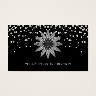 Elegant Lotus Flower Silver Glitter Logo Yoga Business Card