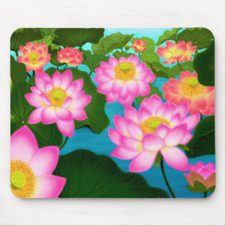 Elegant Lotus Flowers Mousepad