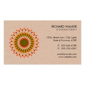 Elegant Lotus Logo Floral Wood Health Wellness Business Card