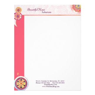 Elegant Lotus Motifs Interior Business Letterheads Custom Letterhead
