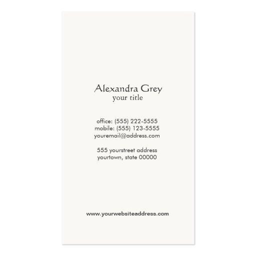 Elegant Lotus Women's Fashion Boutique Black Business Cards (back side)