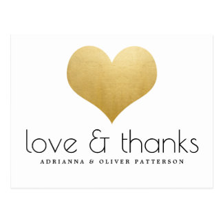 Elegant Love And Thanks Faux Gold Foil Heart Postcard