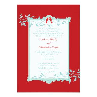 "Elegant love birds Wedding Invitation 5"" X 7"" Invitation Card"
