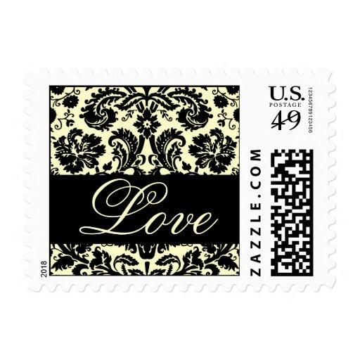 Elegant Love Black Cream Damask Postage