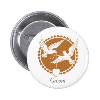 Elegant Love Doves Badge for a Groom Button