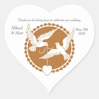 Elegant Love Doves Gay Wedding Heart Sticker