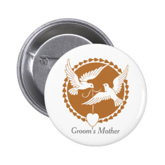 Elegant Love Doves Groom's Mother Badge Button