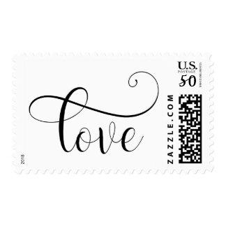 Elegant Love Script in Black over White, Wedding Postage