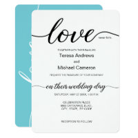 Elegant Love script teal black and white Invitation