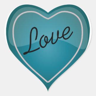 Elegant Love Shiny Blue Turquoise Heart Heart Sticker