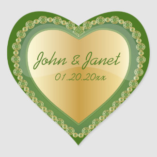 Elegant Love Shiny Dark Green Gold Heart Jewel Heart Sticker