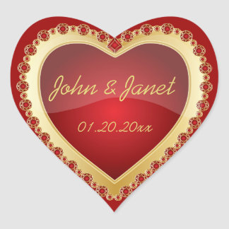 Elegant Love Shiny Deep Red Gold Jewel Heart Heart Sticker
