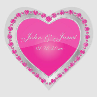 Elegant Love Shiny Hot Pink Silver Jewel Heart Heart Sticker