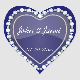 Elegant Love Shiny Navy Blue Heart Heart Sticker