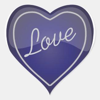 Elegant Love Shiny Navy Blue Heart Heart Sticker