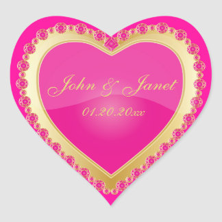 Elegant Love Shiny Pink Gold Jewel Heart Heart Sticker