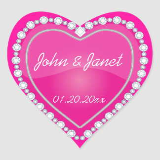 Elegant Love Shiny Pink Heart Heart Sticker