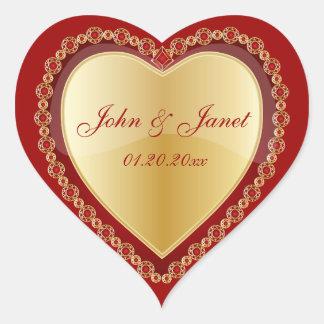 Elegant Love Shiny Red Gold Jewel Heart Heart Sticker