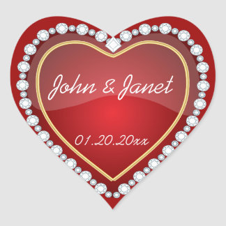 Elegant Love Shiny Red Heart Heart Sticker