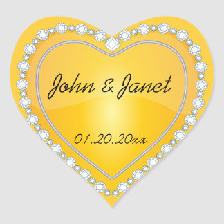 Elegant Love Shiny Yellow Heart Heart Sticker