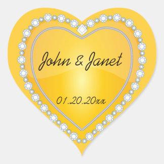 Elegant Love Shiny Yellow Heart Heart Sticker