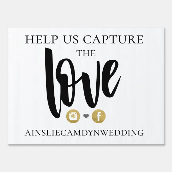 Elegant Love Social Media Wedding Lawn Sign