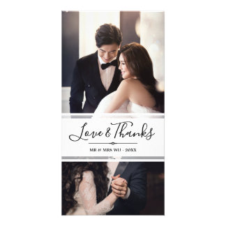 Elegant Love & Thanks Wedding Photo Collage Card