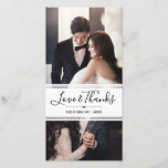 """Elegant Love &amp; Thanks Wedding Photo Collage Thank You Card<br><div class=""""desc"""">Wedding thank you photo card personalized with two of your own wedding photos. Love &amp; Thanks in a charming calligraphy script above your new shared last name and the year.</div>"""