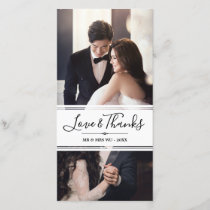 Elegant Love & Thanks Wedding Photo Collage Thank You Card