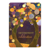 Elegant Love Trees Purple Retirement Party Card