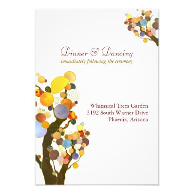 Elegant Love Trees White Wedding Reception (3.5x5) Personalized Invitations