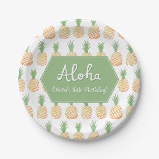 Elegant Luau Pineapple Birthday Party Supplies Paper Plate