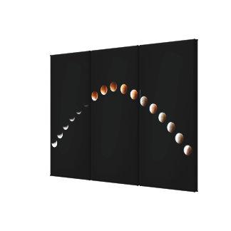 Elegant Lunar Eclipse Mullion- Sequence Triptych Canvas Print