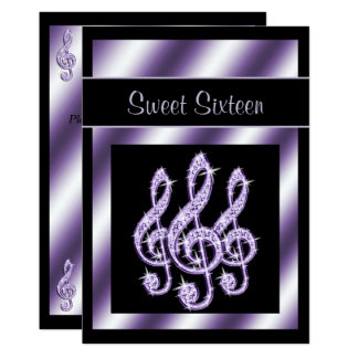 Elegant, Luscious Lilac Treble Clefs Sweet 16 Card
