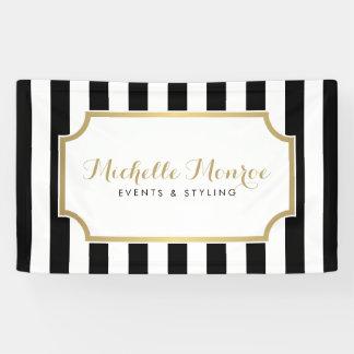 Elegant Luxe Bold Black and White Stripes Banner