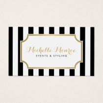 Elegant Luxe Bold Black and White Stripes Business Card