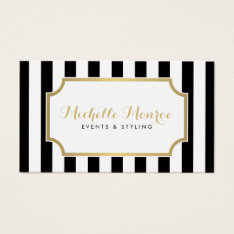Elegant Luxe Bold Black And White Stripes Business Card at Zazzle