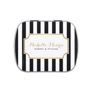 Elegant Luxe Bold Black and White Stripes Jelly Belly Candy Tins