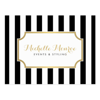 Elegant Luxe Bold Black and White Stripes Postcard