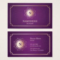 Elegant Luxe Monogram Purple Business Card