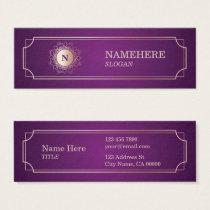Elegant Luxe Monogram Purple Mini Business Card