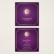 Elegant Luxe Monogram Purple Square Business Card