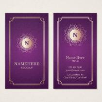 Elegant LuxeMonogram Purple Vertical Business Card