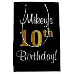 [ Thumbnail: Elegant, Luxurious, Faux Gold Look 10th Birthday Gift Bag ]