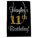 [ Thumbnail: Elegant, Luxurious, Faux Gold Look 11th Birthday Gift Bag ]