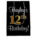 [ Thumbnail: Elegant, Luxurious, Faux Gold Look 12th Birthday Gift Bag ]