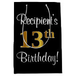 [ Thumbnail: Elegant, Luxurious, Faux Gold Look 13th Birthday Gift Bag ]