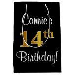 [ Thumbnail: Elegant, Luxurious, Faux Gold Look 14th Birthday Gift Bag ]