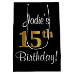 [ Thumbnail: Elegant, Luxurious, Faux Gold Look 15th Birthday Gift Bag ]